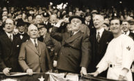 President Franklin Roosevelt throwing out a game baseball in 1937