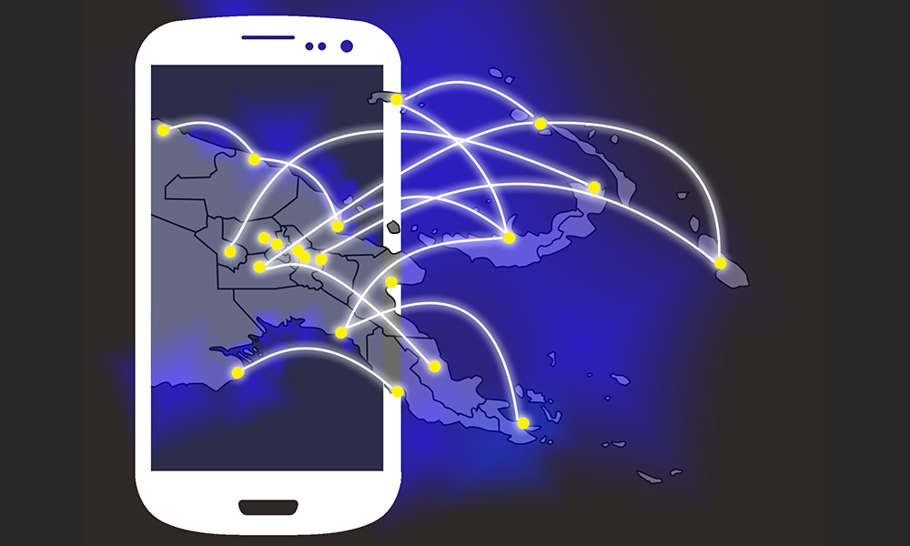 illustration of a cellphone with links about to islands in the South Pacific to illustrate the spread of cellphone coverage there