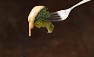 cheese sauce dripping off a piece of brocolli to illustrate lipid droplets