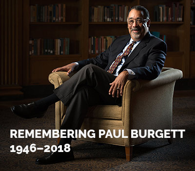 photo of Paul Burgett with text that reads REMEMBERING PAUL BURGETT