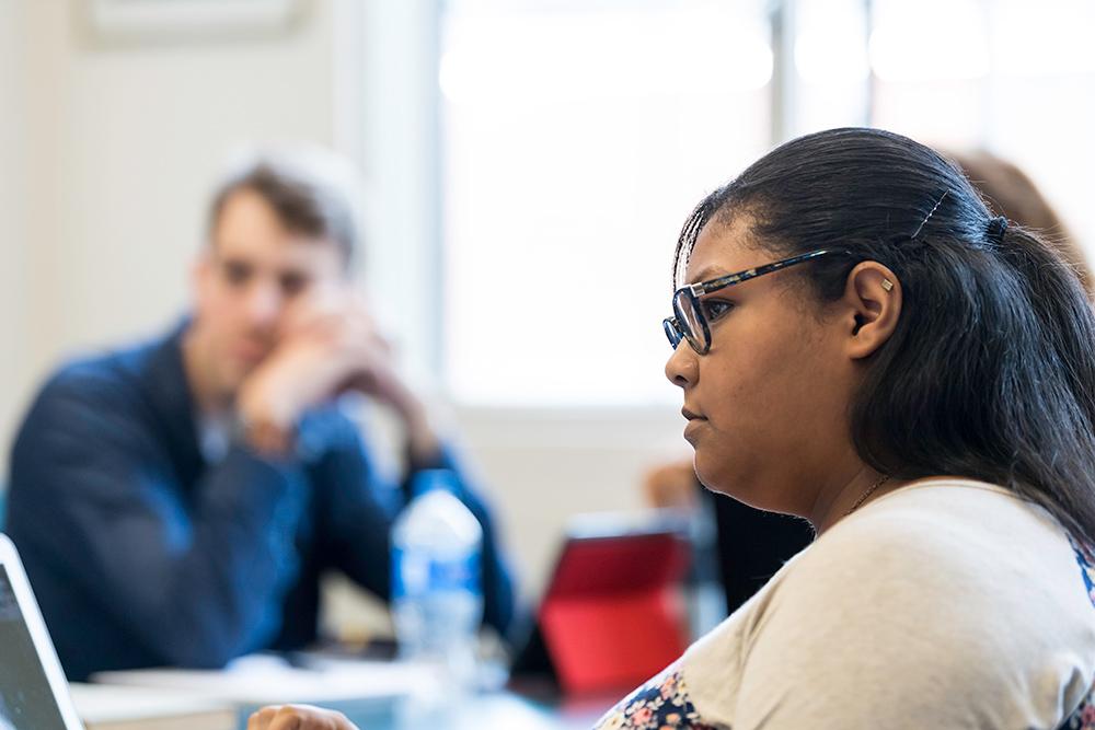 portrait of Dominique Townsend in classroom