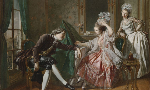Eighteenth-century man leans toward an aristocratic woman, watched by her maid.