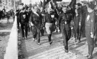 historical image of fascists marching in Italy