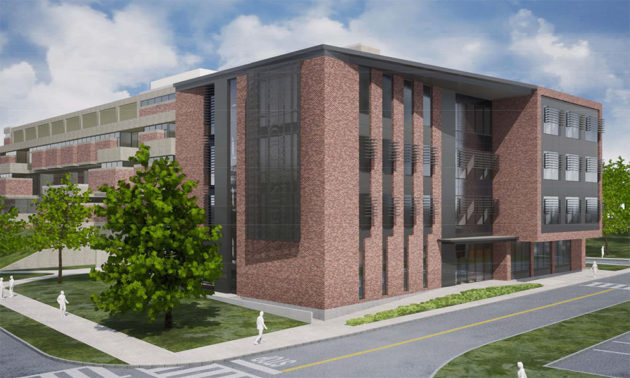 rendering of new building annex to Hutchison Hall