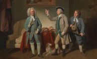 a paiting features three 18th actors in a drawing room scene