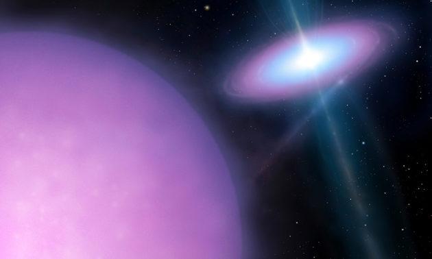 illustration of two stars, one emitting gamma rays