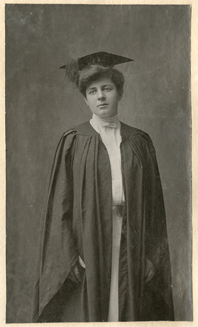 historical photo of Eleanor Gleason in graduation cap and gown