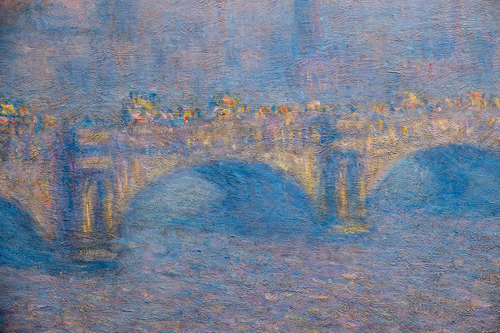 close-up detail of brush stroke's in one of Monet's Waterloo Bridge paintings.
