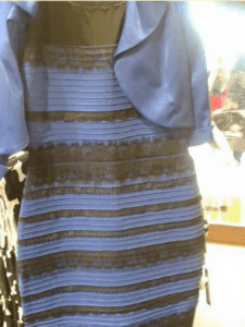 rather blurry image of a striped dress.