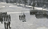 archival image of soldiers on the quad