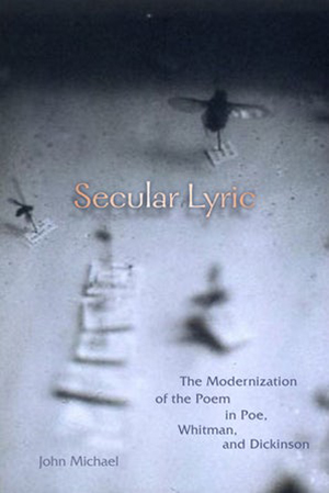 image of a book cover with the title Secular Lyric features an image of insects pinned to a board and labeled