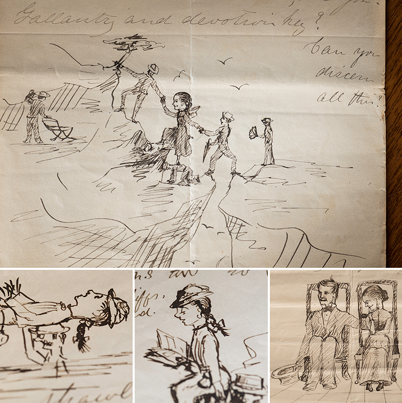 four examples of letters showing illustrations, including a woman being helped across a mountain range, and woman being carried across a river, a woman reading a book, and a man and woman sitting next to each other.