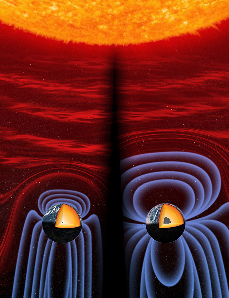 two illustration of the planet Earth, showing a cross section of the inner core. The first shows the ancient beginnings of the inner core, with a small core and small magnetic field radiating off the planet. The one on the right shows the current core, much larger, with much larger magnetic field