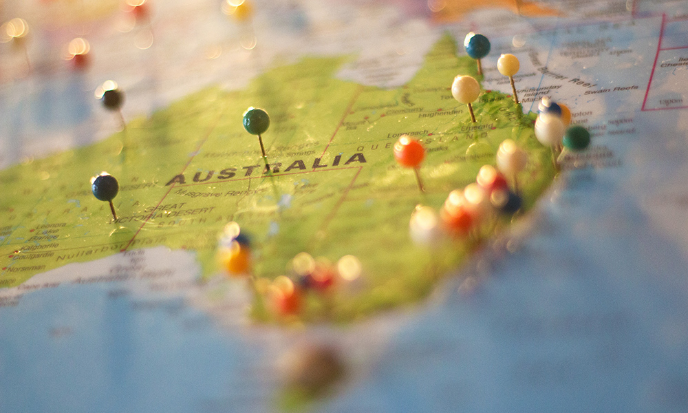 map of Australia with pins in it