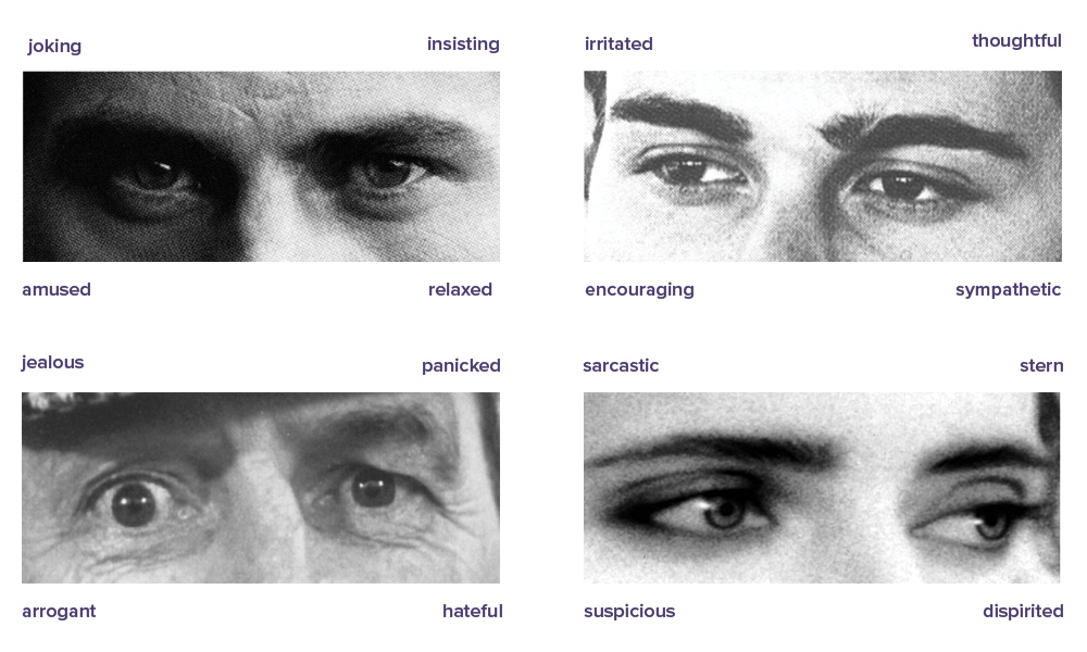 a test showing four close-ups of four sets of eyes, each one labeled with four choices of emotion. The first is labelled: joking, insisting, amused, or relaxed. The second is labeled: irritated, thoughtful, encouraging, or sympathetic. The third is labeled:jealous, insisting, amused, or relaxed. The fourth is labeled: sarcastic, stern, suspicious, dispirited.