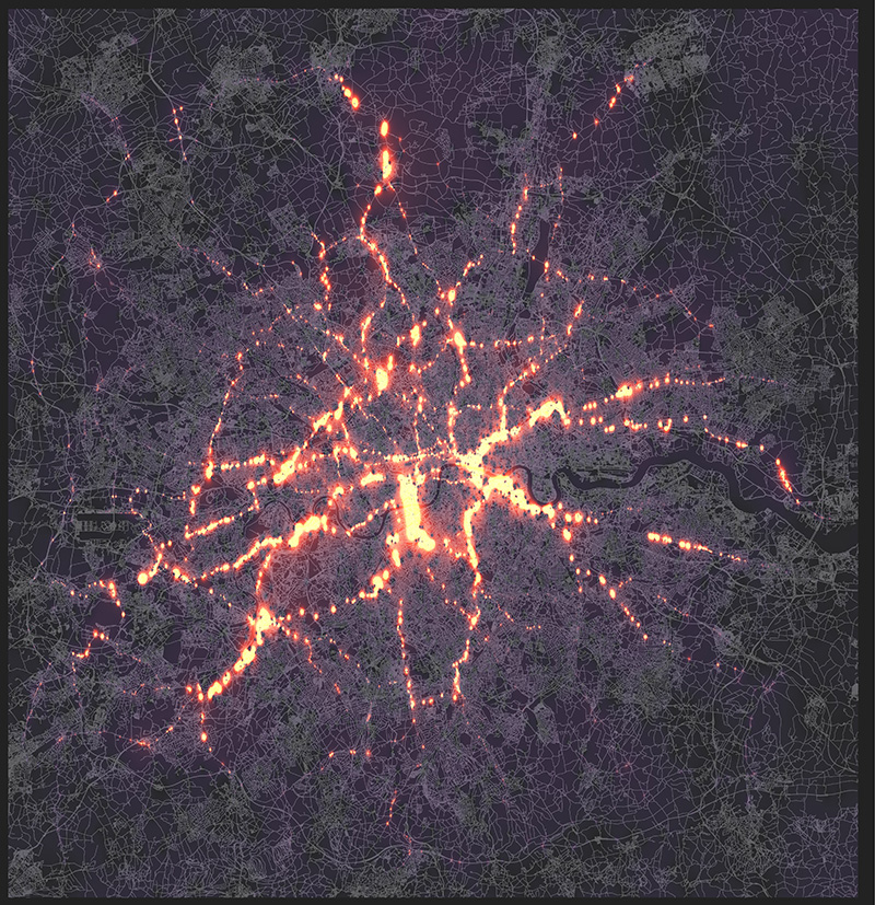 heat map showing the concentrations of traffic going in an out of London.