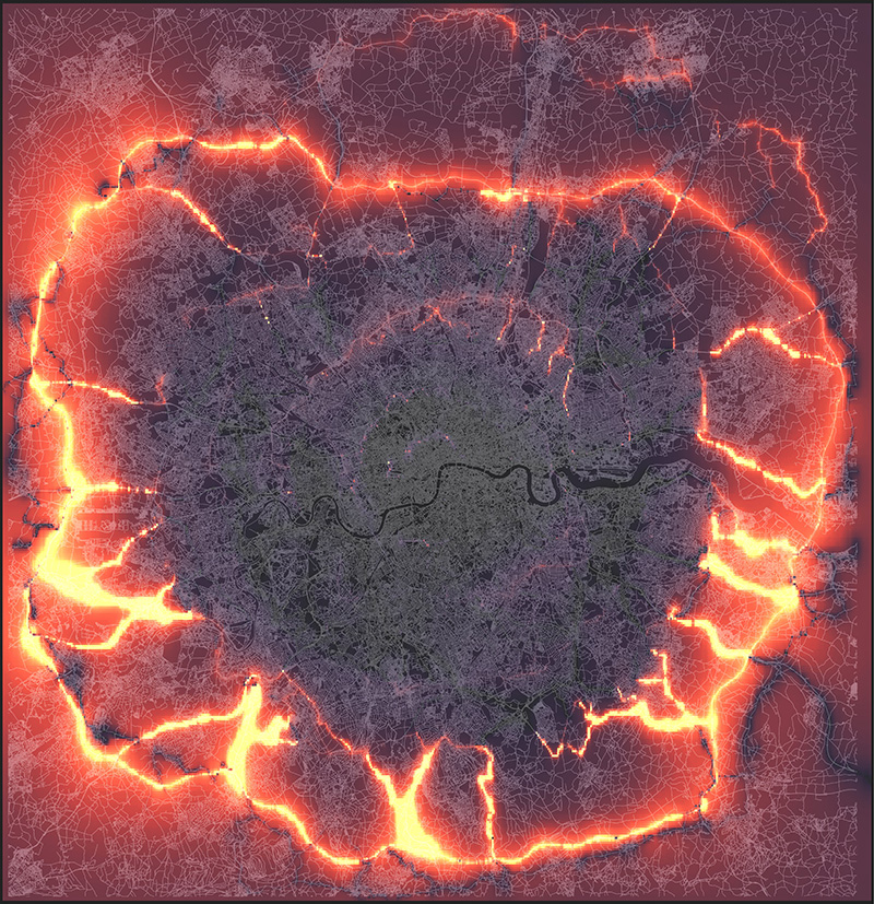 heat map showing the concentration of traffic on the outer rings of London