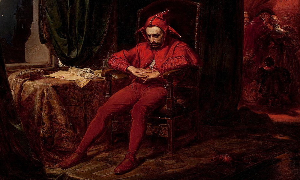 painting of a sad court jester.