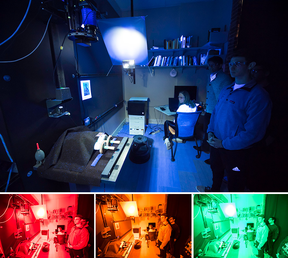 four images of the same scene of students in a lab, each one lit up with a different burst of color.