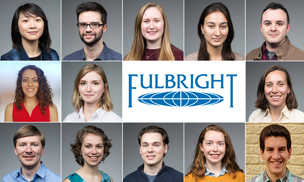 collage of 13 student portraits with Fulbright logo.