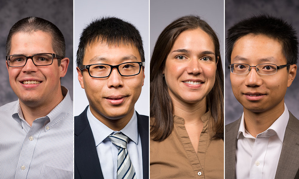 four portraits of faculty members.