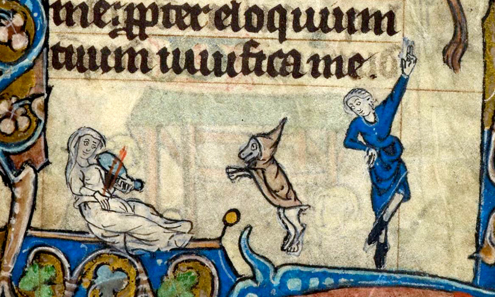 illustration from medieval text shows two characters singing and dancing, along with a dancing dog