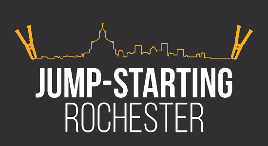 illustration of city skyline with the text JUMP STARTING ROCHESTER
