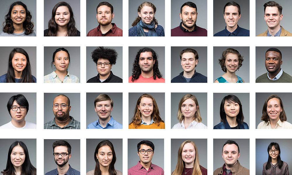 collage of 28 different student portraits.