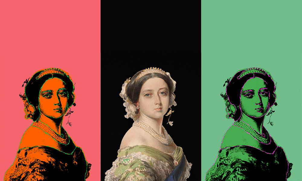 a traditional portrait of Queen Victoria, next to two modern ones.