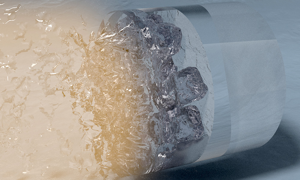 artist illustration shows cylinder converting to blocks of ice.