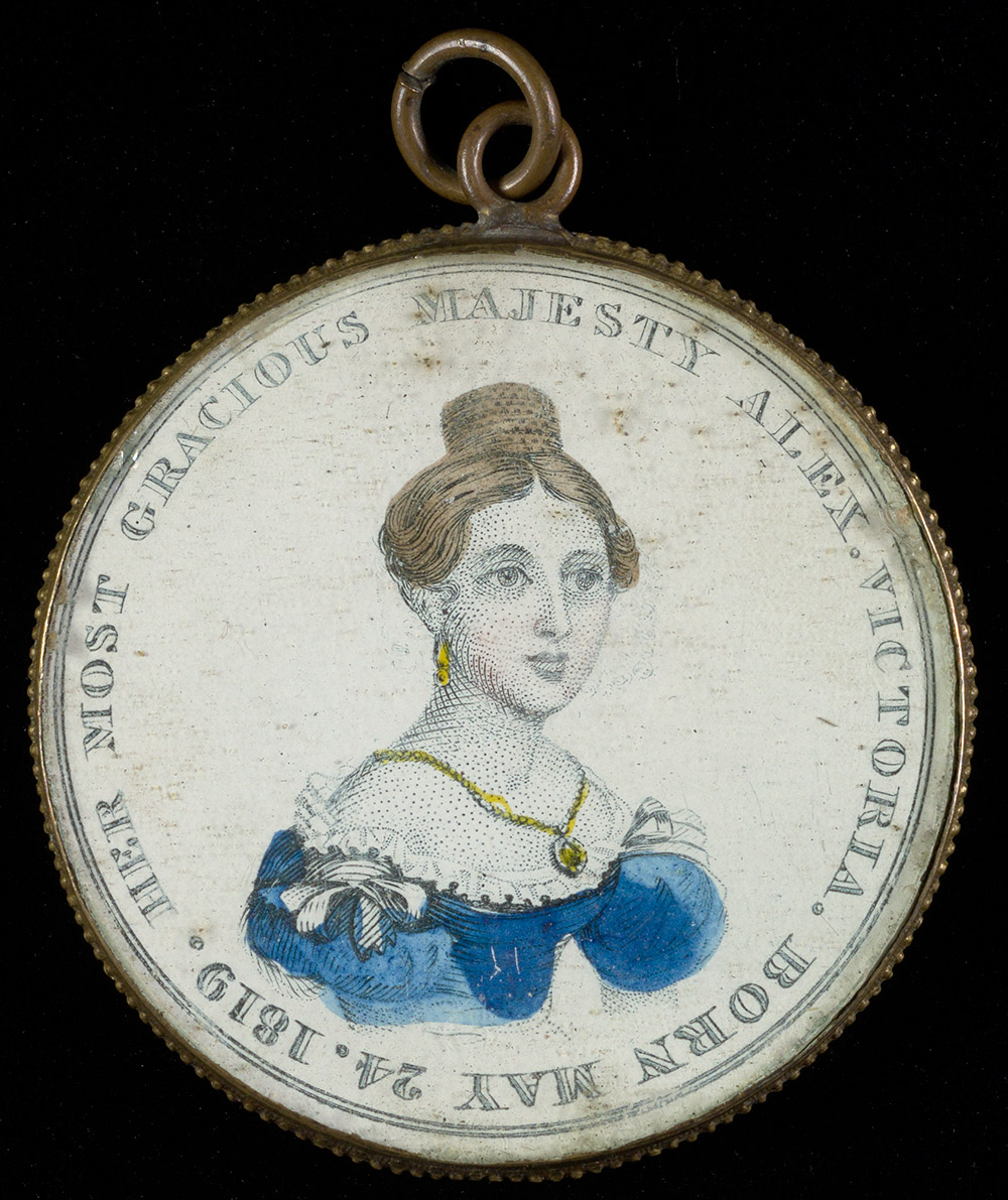 19th century round pendant with an image of Queen Victoria.