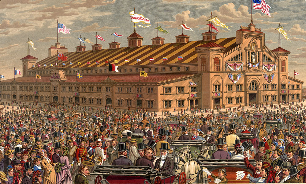 The crowds gather outside the coliseum for the World's Peace Jubilee in 1872, which likely reused parts of the original structure created for the National Peace Jubilee in 1869.