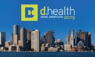 "Boston skyline with ""d.health aging Americans 2019"" and d.health Summit logo above it."