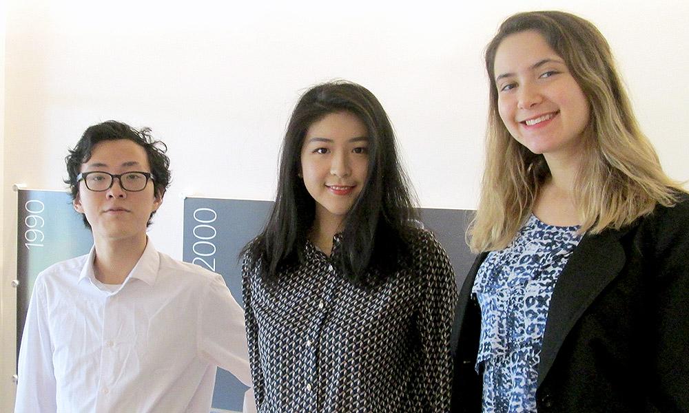 Business majors Zetian Xiao, Jixuan Liu, and Teddi Shapiro.