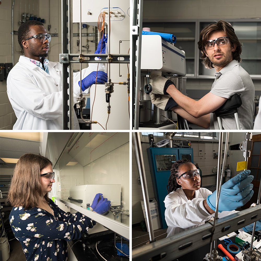 a quartet of photos, each showing a single researcher in googles and lab coat at work in the lab