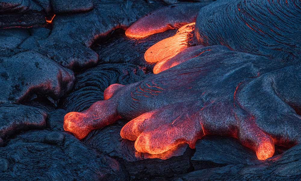 close-up of lava flow