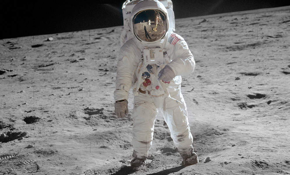 historic photo of astronaut Buzz Aldrin walking on the moon