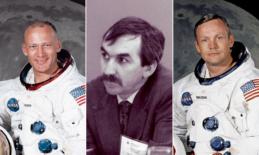three archival portraits of astronauts Buzz Aldrin and Neil Armstrong and professor Duncan Moore