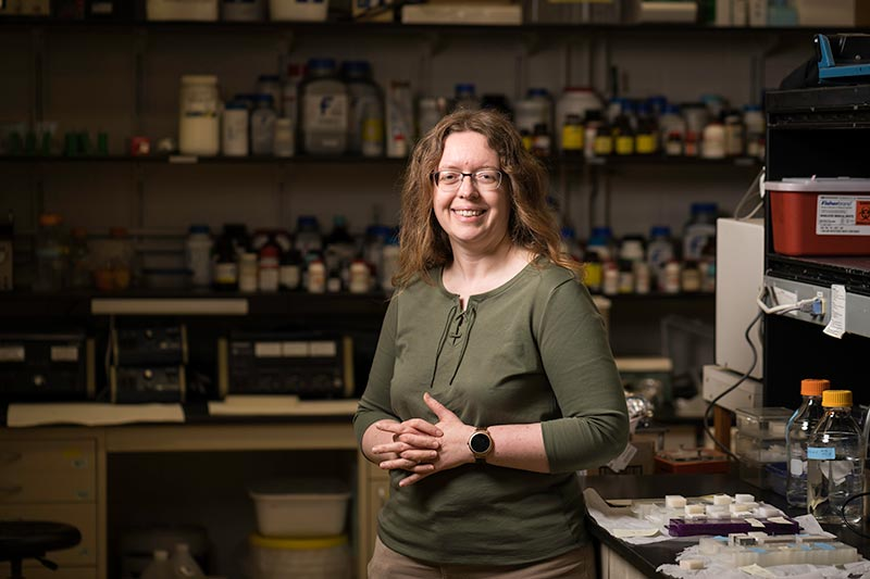 portrait of Anne Meyer in her lab
