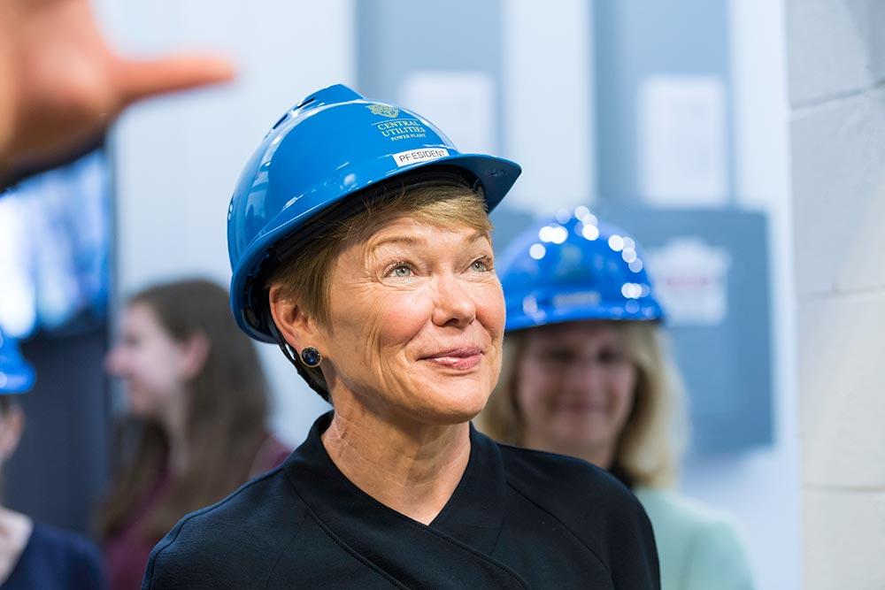 President Mangelsdorf wearing a hard hat.