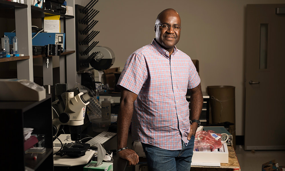 Marvin Doyley smiles in his lab.