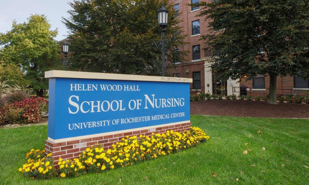 School of Nursing building and sign