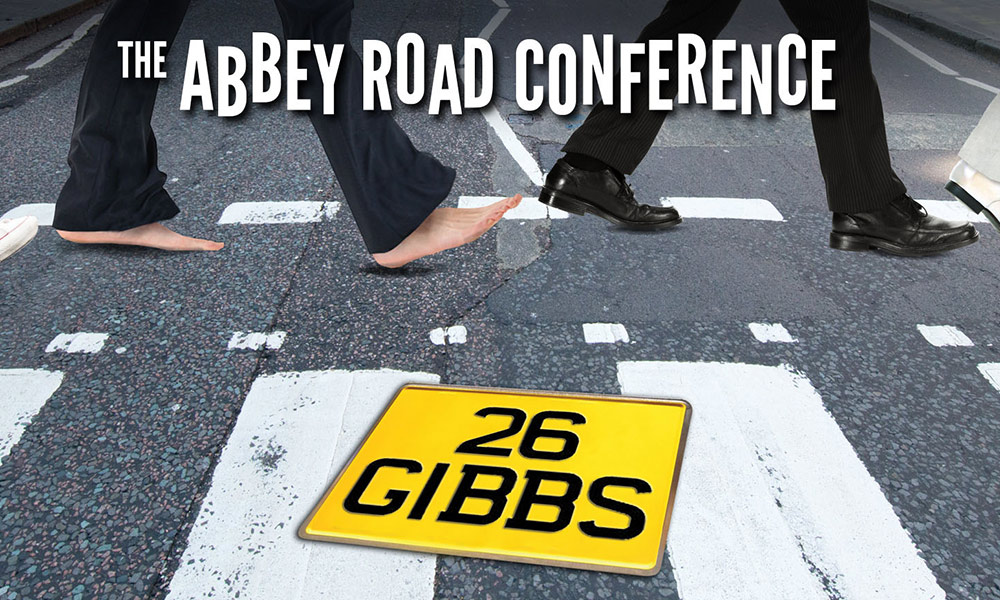 graphic shows a parody of the Beatles feet as they walk across the Abbey Road crosswalk, with the words ABBEY ROAD CONFERENCE and 26 GIBBS