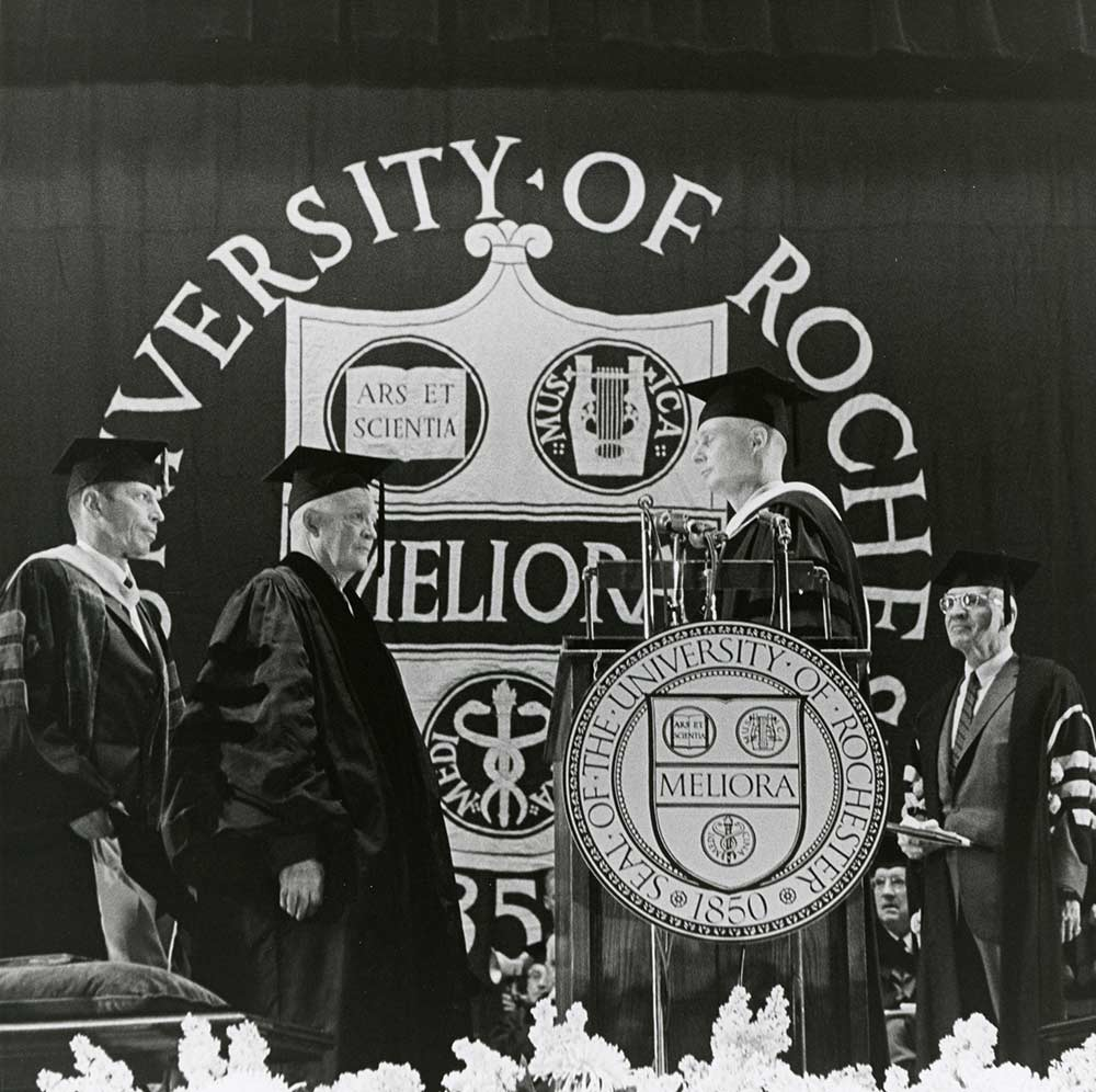 President Dwight Eisenhower on University of Rochester stage.