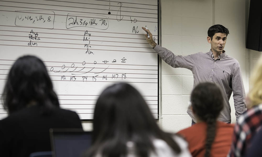 Matthew BaileyShea teaches his Theory I class.