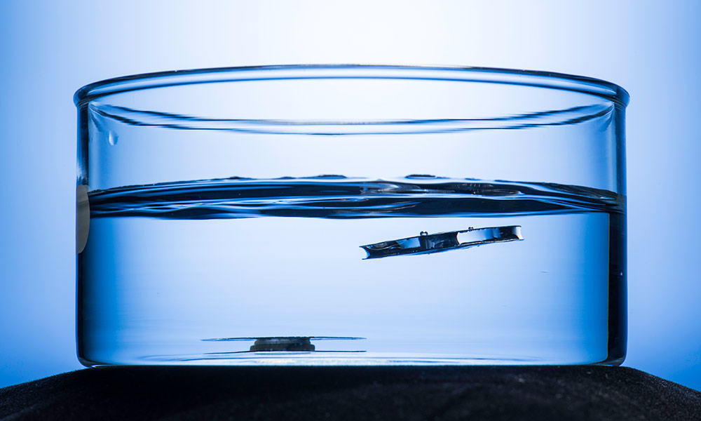 two small metal discs submerged in a glass beaker filled with water, one stays sunk at the bottom, the other floats up to the surface