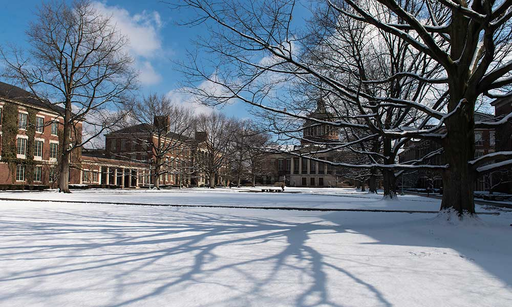 snow on the quad with the library in the background.