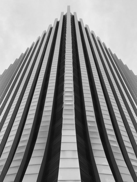 Looking up from the bottom of the Chase Building