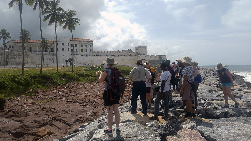 group of students outside Elmina Castle.