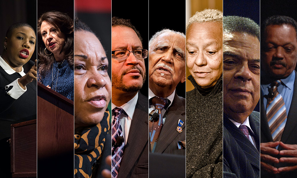 collage made up of multiple photos of past MLK Day speakers